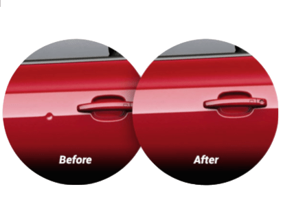 Before and after a paintless dent repair